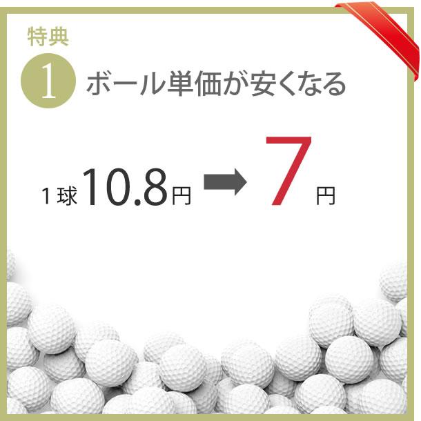 メンバー特典1 ボール代が安くなる 1球7円